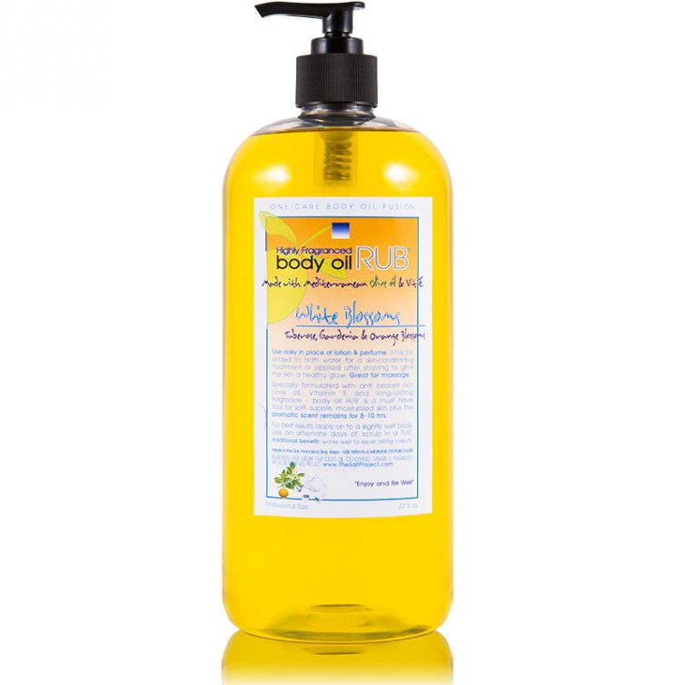 body oil RUB 32oz<br>White Blossom<br>NEW Formula
